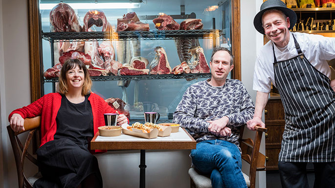 Chloe Scott-Moncrieff with her dining companion, Oli and master butcher Andy Cook at the butcher's Tap
