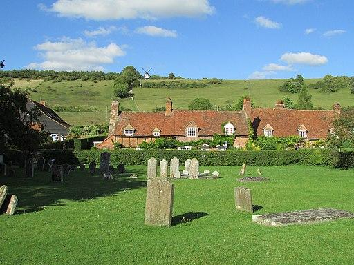 Quaint village graveyard within the countryside